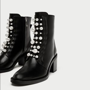 Zara high heel leather ankle boots faux pearl